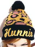 Chapeau de tricotage de jacquard populaire européen fait sur commande de léopard