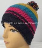ポンポンHjb049が付いているアイスランドの縞の帽子の帽子の特別な編む帽子