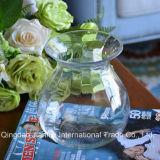 Florero de cristal transparente del Estrecho-Cuello esférico para la flor