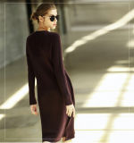 Vestido da caxemira das mulheres com garganta redonda 13brdw103