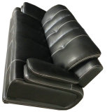 黒い革ソファー、現代ソファー、居間のソファー(B. 939)