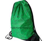 sac à dos en nylon de sac de cordon du polyester 210d jaune
