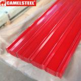 Hoja acanalada del material para techos del acero revestido del color de PPGI