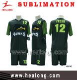 Il calcio personalizzato verde di sublimazione completa e nero reale di disegno ha impostato (gioco del calcio fissato)