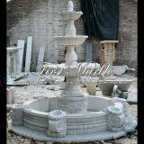 White Carrara Fountain avec Shell pour Décoration Mf-114