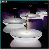Muebles del LED/mesa redonda iluminada de la fábrica de los muebles con con base metálica