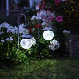 1 X White/Rbg LED Hanging Ball Solar Powered Lights met met Stakes