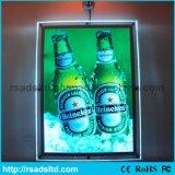 Cadre en cristal de publicité fixé au mur mince acrylique d'éclairage LED