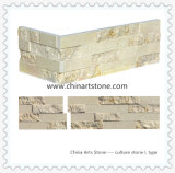 Pietra di marmo beige dorata della coltura dell'ardesia per la parete esterna