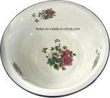 Тазик тарелки тазика мытья эмали конструкции декора цветков