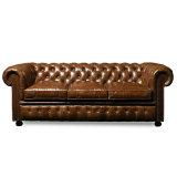Sofá clássico do couro da mobília do estilo