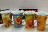 Promoción 11oz taza de café de cerámica con diseño de flores para el día de la mujer