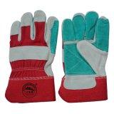 Doubles gants fonctionnants résistants coupés de cuir fendu de peau de vache de paume