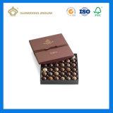 Caixa de empacotamento do chocolate preto cheio elegante luxuoso elevado do sentimento de Matt ajustada (com a caixa de papel pequena interna)