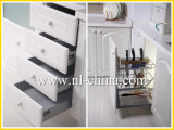 Armadio da cucina bianco di disegno della maniglia del PVC