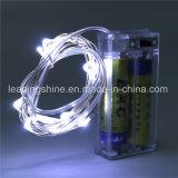 Pur 2m Blanc 20 Lumières Argent Cuivre Fil Mini Riz 0603 Décoration de vacances Fée Lumière cordes