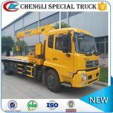 6개의 바퀴 Dongfeng 도로 구조 기중기 평상형 트레일러 트럭