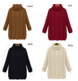 Form-lose hohe Stutzen-Kabel-Artknit-Dame Sweater