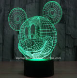 Formas personalizadas Lâmpada de mesa decorativa para mudança de cor Mickey USB 3D Sensor LED Night Light com bateria operada