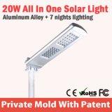 Alto indicatore luminoso solare caldo chiaro di via di vendite IP67 della via LED di luminosità 20W