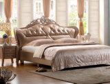Neuer eleganter Entwurfs-modernes echtes Leder-Bett (HC520) für Schlafzimmer