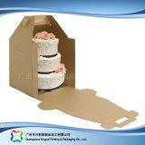 Rectángulo de empaquetado plegable ambiental del papel de Kraft para la torta del alimento (xc-fbk-044)
