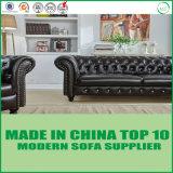 Conjunto del sofá del cuero genuino de la oficina del estilo de Chesterfiled