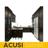 Nuevos muebles superiores de la cocina de la cabina de cocina de madera sólida del abedul del estilo de la venta al por mayor U (ACS2-W09)