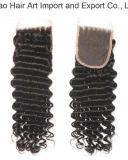 Do Virgin natural de uma cor de 18 polegadas fechamento profundo da parte superior do cabelo da onda