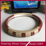 Cuoio della fibra con il coperchio di legno del volante dell'automobile