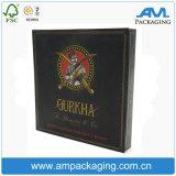 Rectángulo de empaquetado de Cardbord del rectángulo del cigarrillo negro a estrenar de encargo de lujo de la insignia