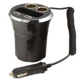 2ソケットが付いている12V 2 USBポートのコップ車のタバコのライター