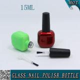 15ml化粧品のための平らなデザインマニキュアのガラスビン