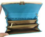 زرقاء مضيئة [بو] جلد محفظة مع فراشة معدن إطار تصميم