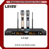 Ls Q2 직업적인 Karaoke 마이크 두 배는 UHF 무선 마이크에 수로를 열는다