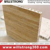 El panel de aluminio del panal de la textura de madera para al aire libre