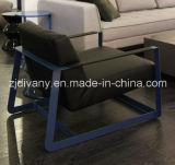 Solo sofá del estilo del hogar de los muebles de la tela moderna del cuero (D-81)