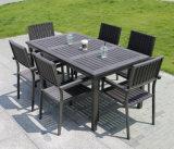 Мебель патио алюминиевой пластичной деревянной таблицы стула напольная обедая комплект (J803)