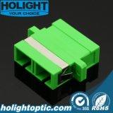 Verde unimodal a dos caras del Sc APC del adaptador de la fibra con el borde