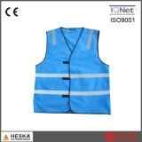 Veste Sleeveless da reflexão da segurança do Mens do vestuário da cor azul