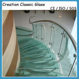 Vidro Tempered curvado quente para trilhos da escada/vidro do edifício