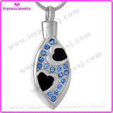 figura ovale dell'acciaio inossidabile 316L con le collane dei pendenti dei monili di cremazione dei cristalli per le ceneri