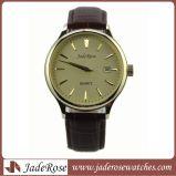 日付の人の腕時計が付いている熱い販売の方法本革ストラップのスチール・ケース