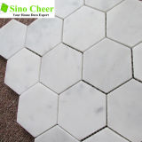 Do mosaico de mármore branco do hexágono de Carrara telha Polished da parede