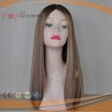 Da cor misturada loura de Ight Brown do comprimento do ombro as melhores perucas superiores de seda de venda do cabelo humano
