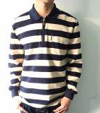 Camisa de la raya de los hombres de Custome de la fábrica de la alta calidad con el collar del polo