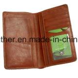 Carteira de passaporte de couro de vaca de luxo para viajar
