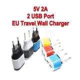 5V 2.1A se doblan cargador de la pared del USB para todas las clases de teléfonos