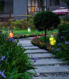 Éclairage LED solaire extérieur en verre rose de jardin givré par produit populaire de 2017 étés