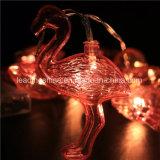 Decorazione di natale di festa dell'OEM personalizzata stringa rossa dell'indicatore luminoso del fenicottero che lascia l'indicatore luminoso della stanza